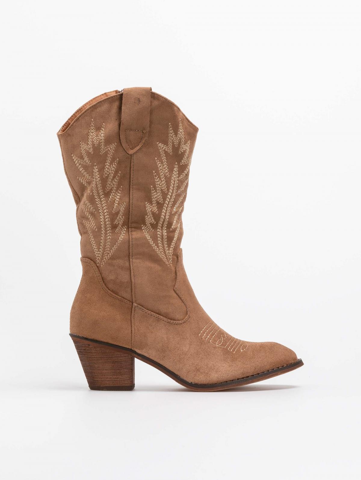 Suede western μπότες με ξύλινο τακούνι - Πούρο