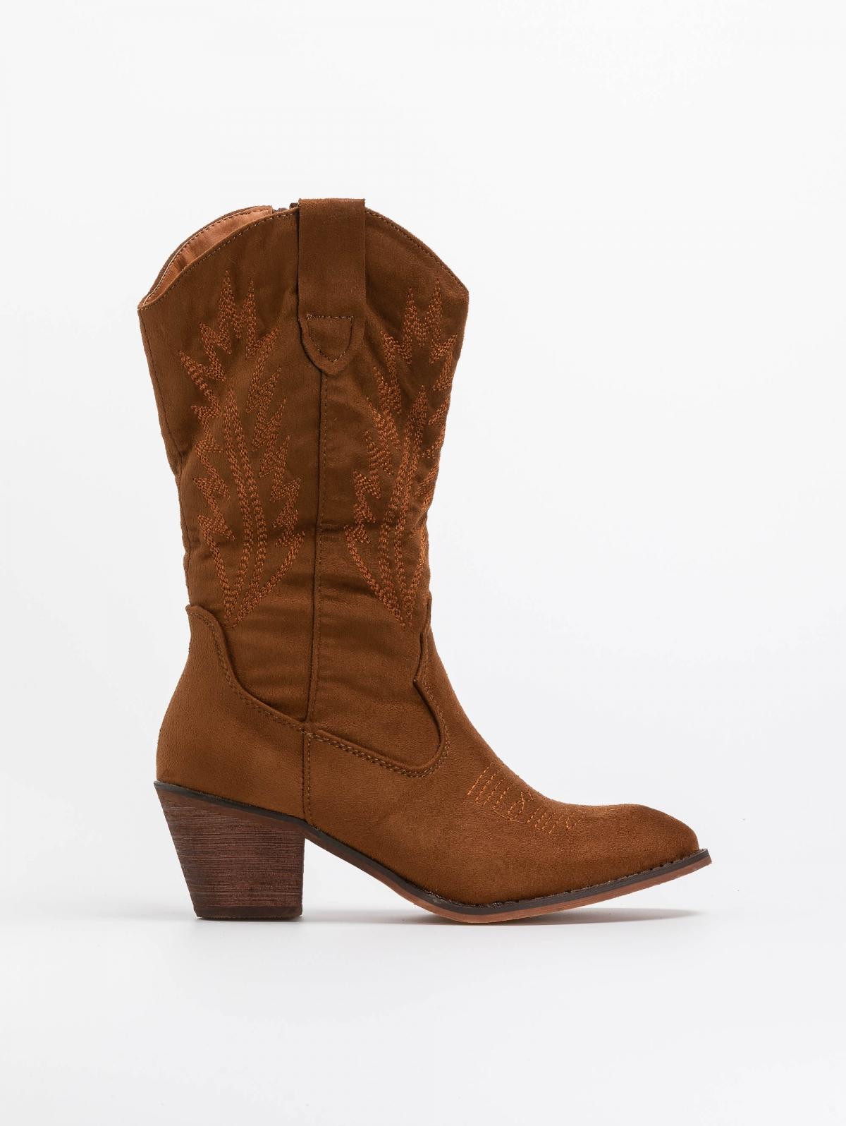 Suede western μπότες με ξύλινο τακούνι - Ταμπά