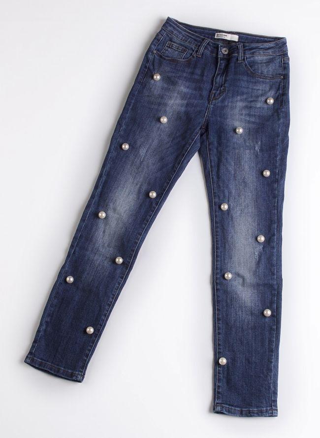 Jean με πέρλες - Μπλε jean