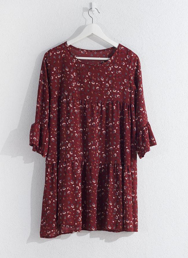 Floral φόρεμα  - Μπορντό