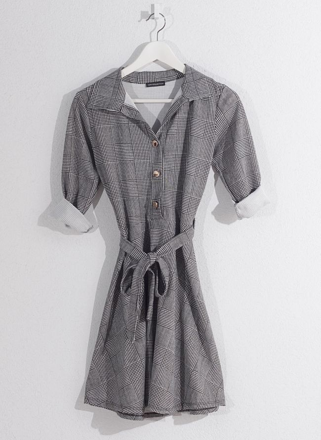 Καρώ φόρεμα  - Γκρι