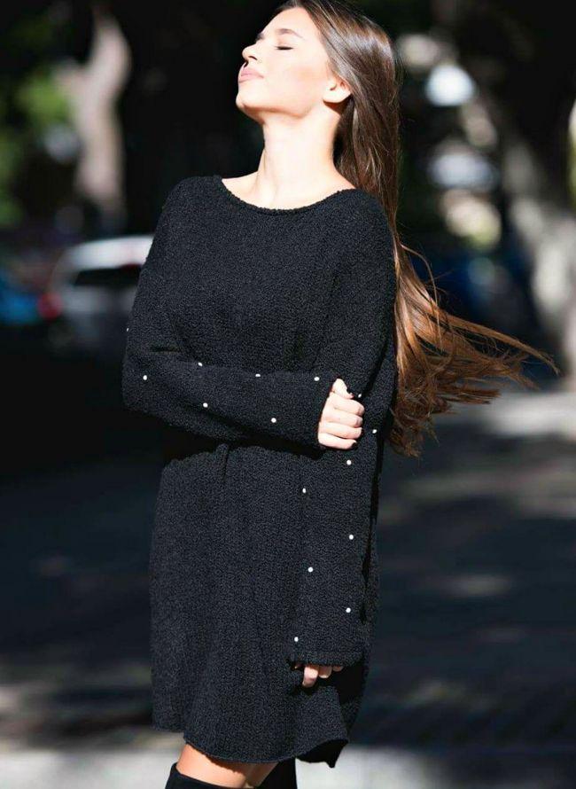 Πλεκτό φόρεμα με πέρλες