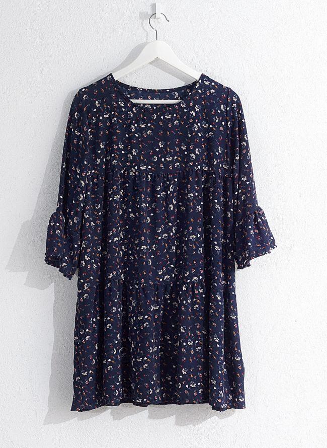 Floral φόρεμα  - Μπλε σκούρο