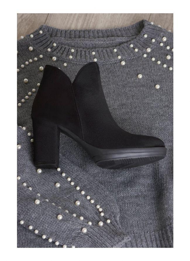 Estil suede ankle boots - Μαύρο