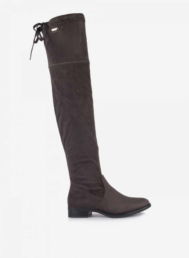 Suede over the knee boots - Γκρι