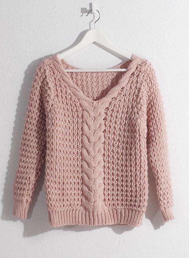 a7a819bd46f0 Πλεκτή μπλούζα - Ροζ - TheFashionProject