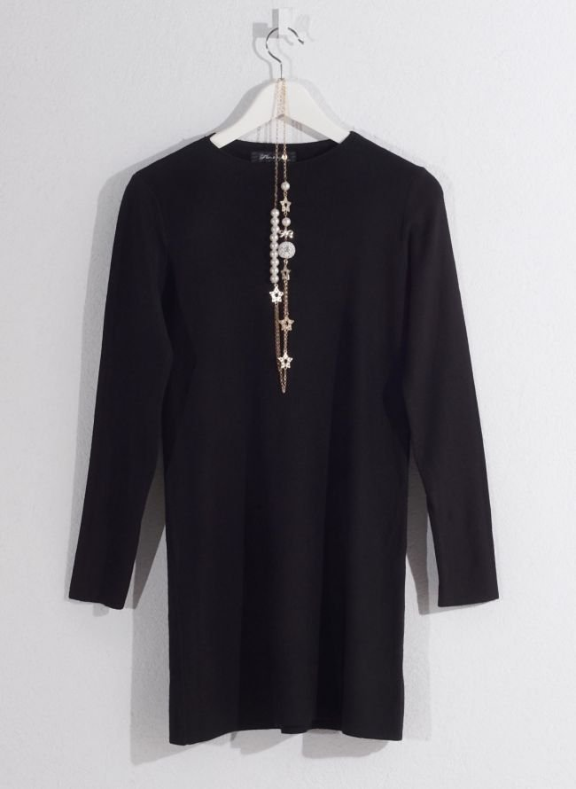 Basic μπλούζα με κολιέ - Μαύρο
