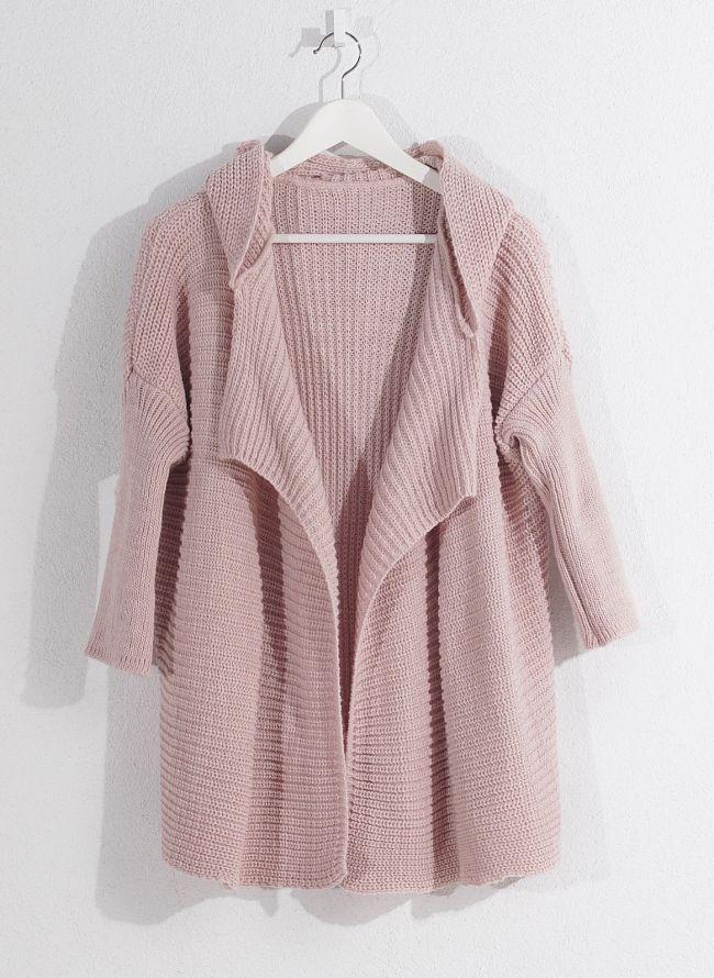 Πλεκτή ζακέτα με κουκούλα - Ροζ