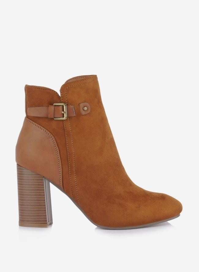 Suede ankle boots με ζωνάκι