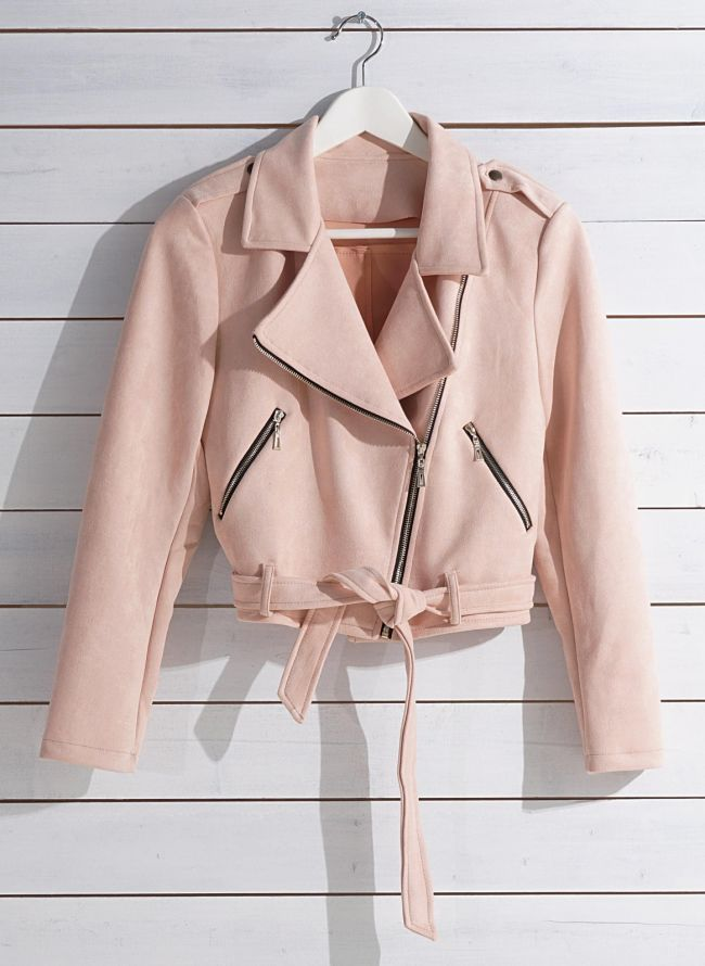 SUEDE CROPPED BIKER JACKET