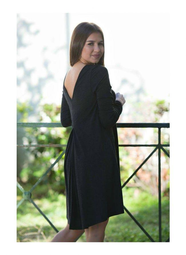 Κλος φόρεμα με πιέτα - Ανθρακί