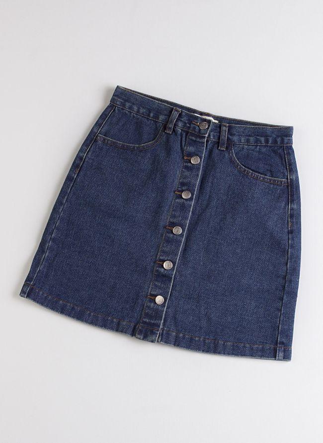 Jean φούστα με κουμπιά - Μπλε jean