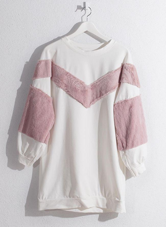 Μπλουζοφόρεμα φούτερ  - Λευκό