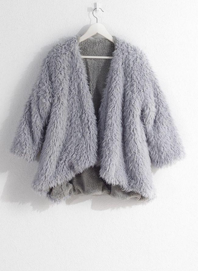 Γούνινο overcoat - Γκρι