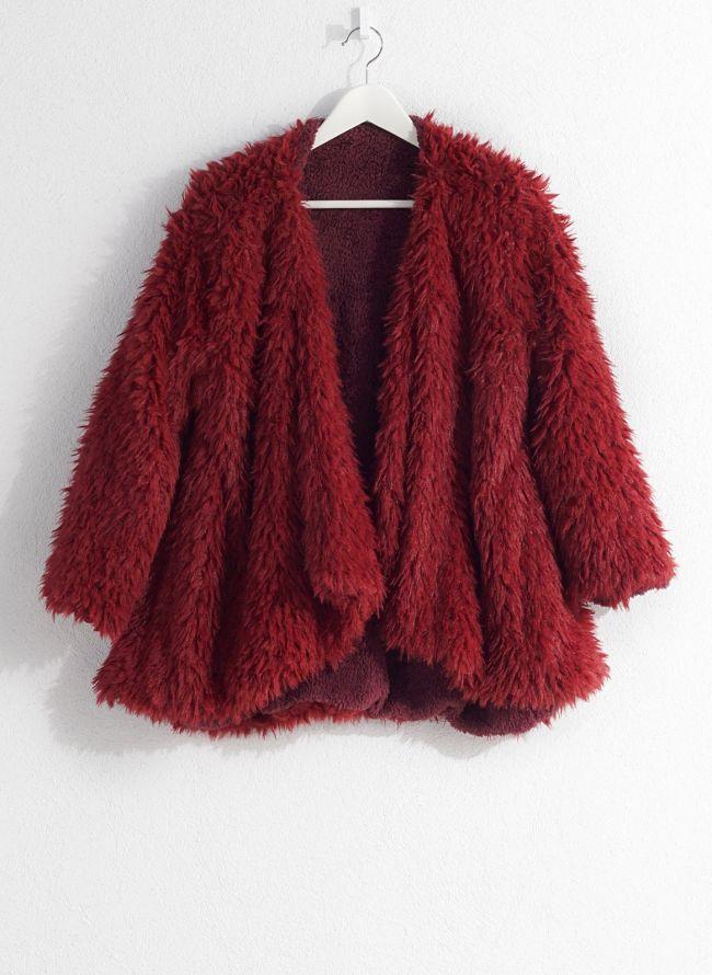 Γούνινο overcoat - Μπορντό