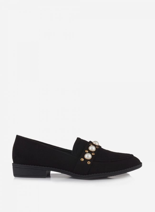 SUEDE LOAFERS ΜΕ ΠΕΡΛΕΣ