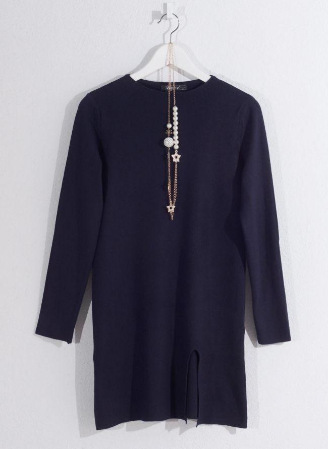 Basic μπλούζα με κολιέ - Μπλε σκούρο