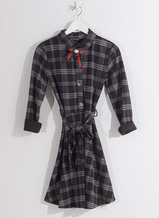 Καρώ φόρεμα  - Μαύρο