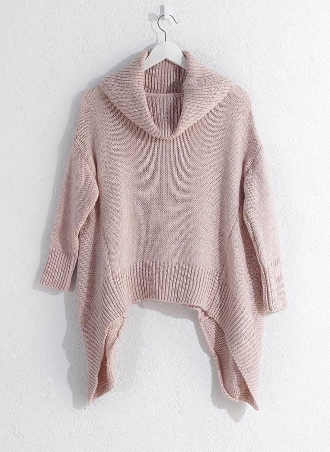 Ασύμμετρη πλεκτή μπλούζα - Ροζ