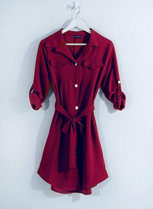 Φόρεμα-πουκάμισο - Μπορντώ