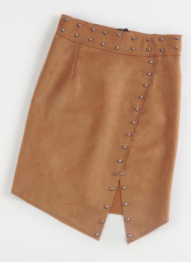 Suede pencil φούστα με τρουκς