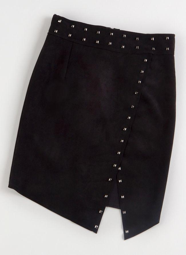 Suede pencil φούστα με τρουκς - Μαύρο