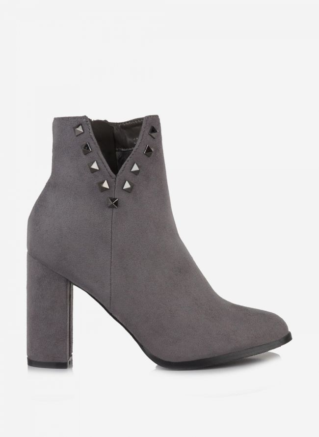 Suede ankle boots - Γκρι