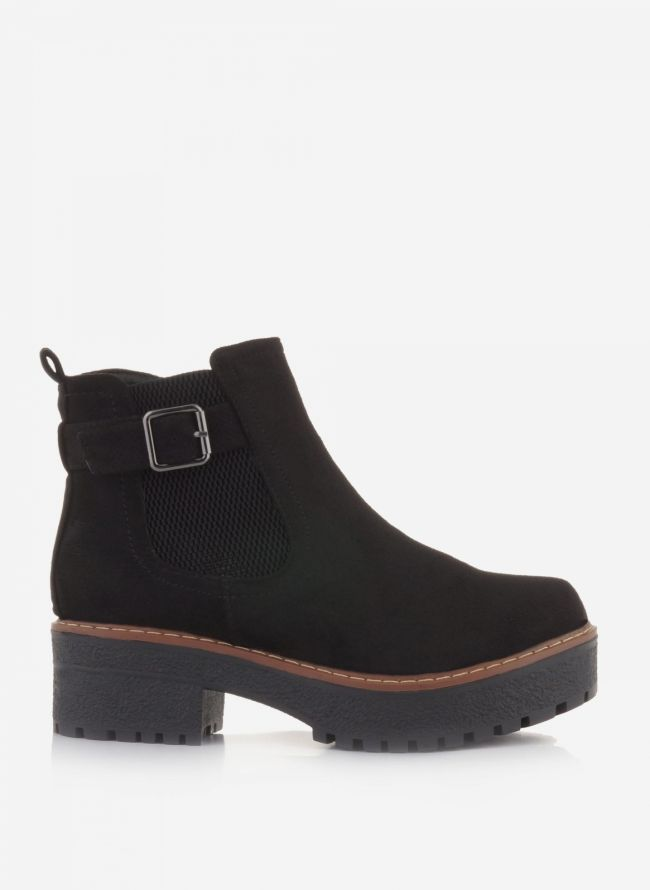 SUEDE ANKLE BOOTS ΜΕ ΖΩΝΑΚΙ