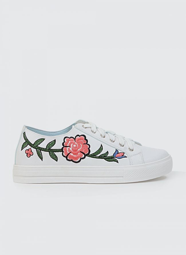 FLORAL SNEAKERS JH-2132 - Λευκό