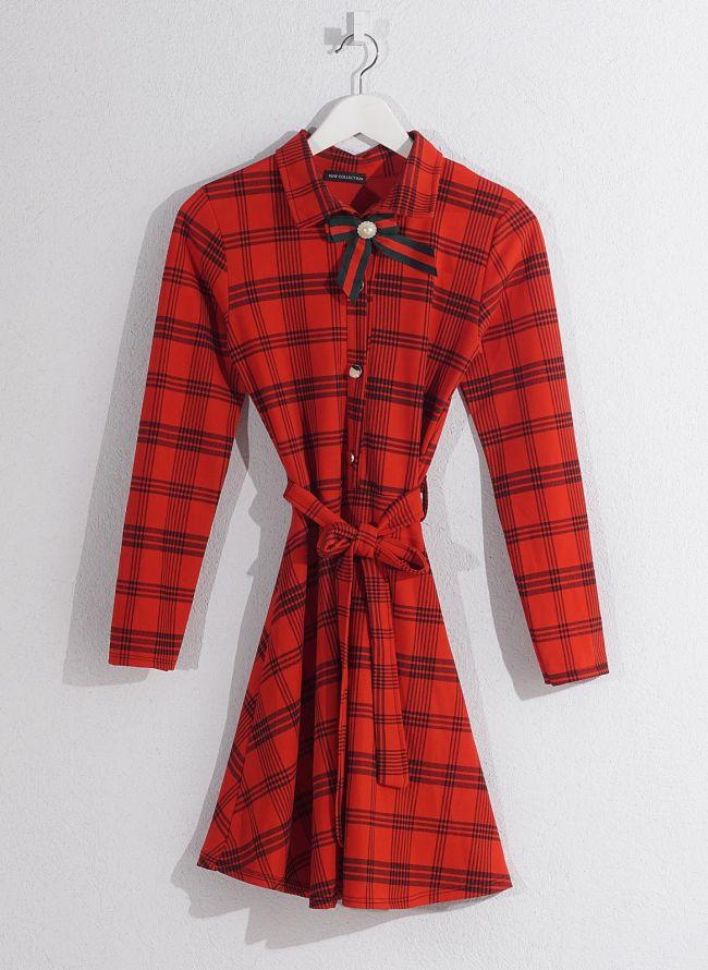 Καρώ φόρεμα  - Κόκκινο