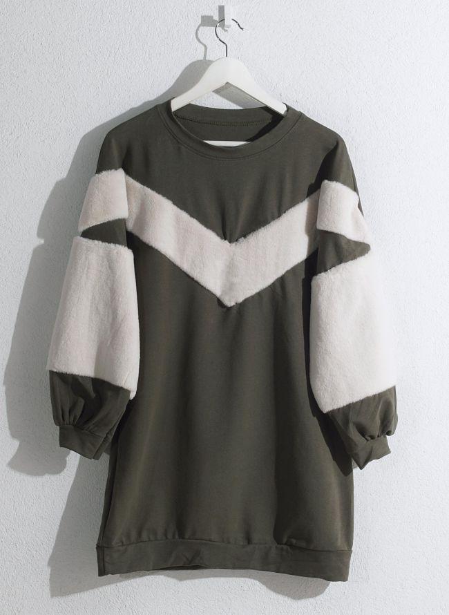 Μπλουζοφόρεμα φούτερ  - Χακί