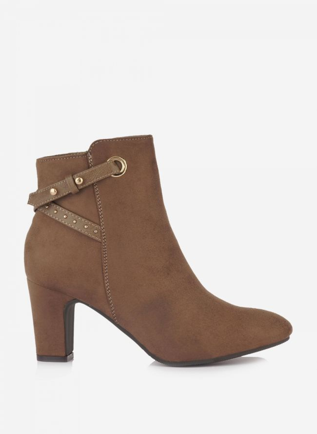 SUEDE ANKLE BOOTS ΜΕ ΤΑΚΟΥΝΙ - Πούρο