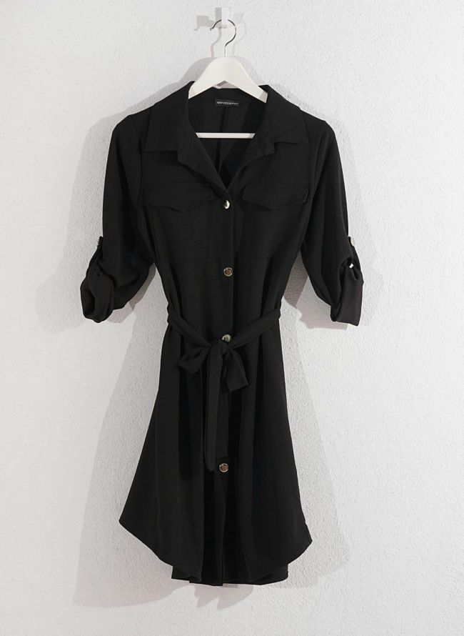 Φόρεμα-πουκάμισο - Μαύρο