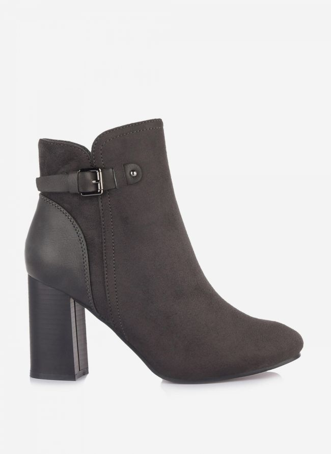 Suede ankle boots με ζωνάκι - Ανθρακί