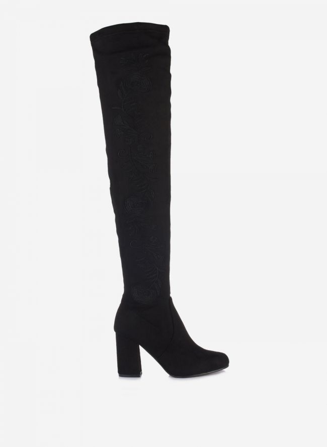 Suede over the knee boots - Μαύρο