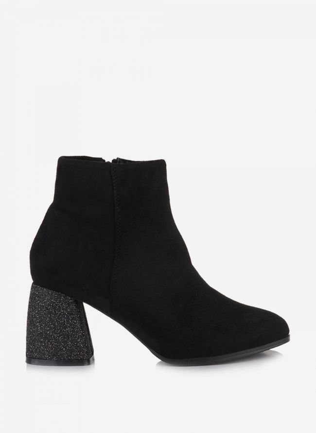 Suede ankle boots - Μαύρο