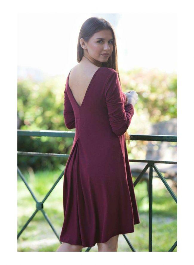 Κλος φόρεμα με πιέτα - Μπορντό