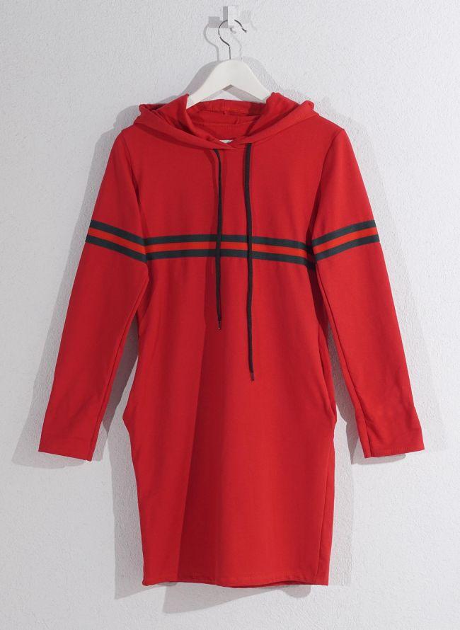 Φόρεμα φούτερ με ρίγα - Κόκκινο