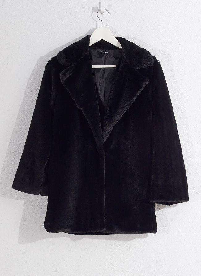 Γούνινο παλτό - Μαύρο