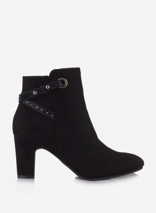 SUEDE ANKLE BOOTS ΜΕ ΤΑΚΟΥΝΙ - Μαύρο