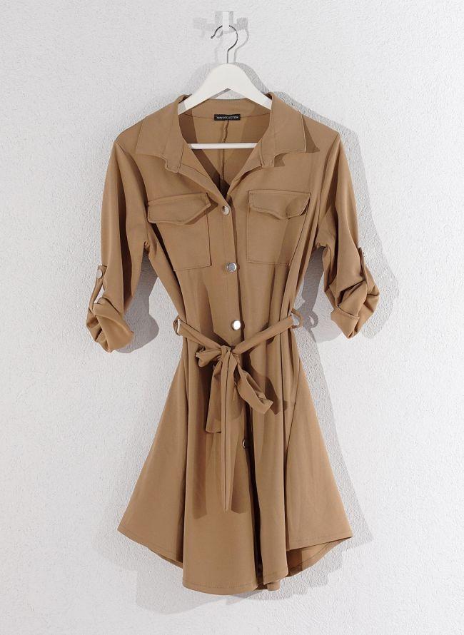 Φόρεμα-πουκάμισο - Κάμελ