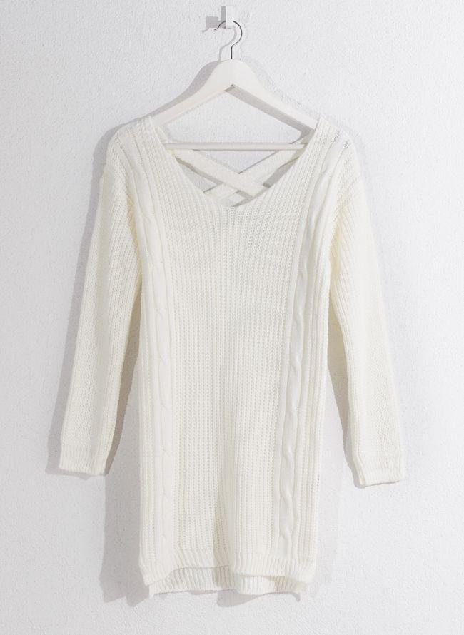 Πλεκτό μπλουζοφόρεμα - Λευκό