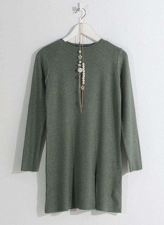 Basic μπλούζα με κολιέ - Πράσινο