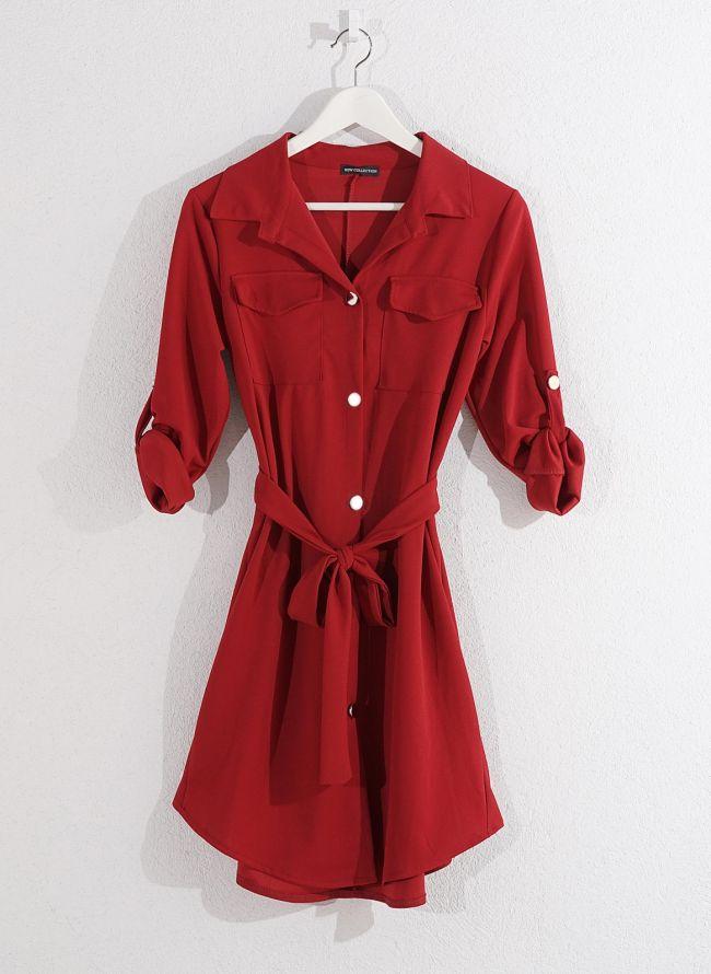 Φόρεμα-πουκάμισο - Κόκκινο