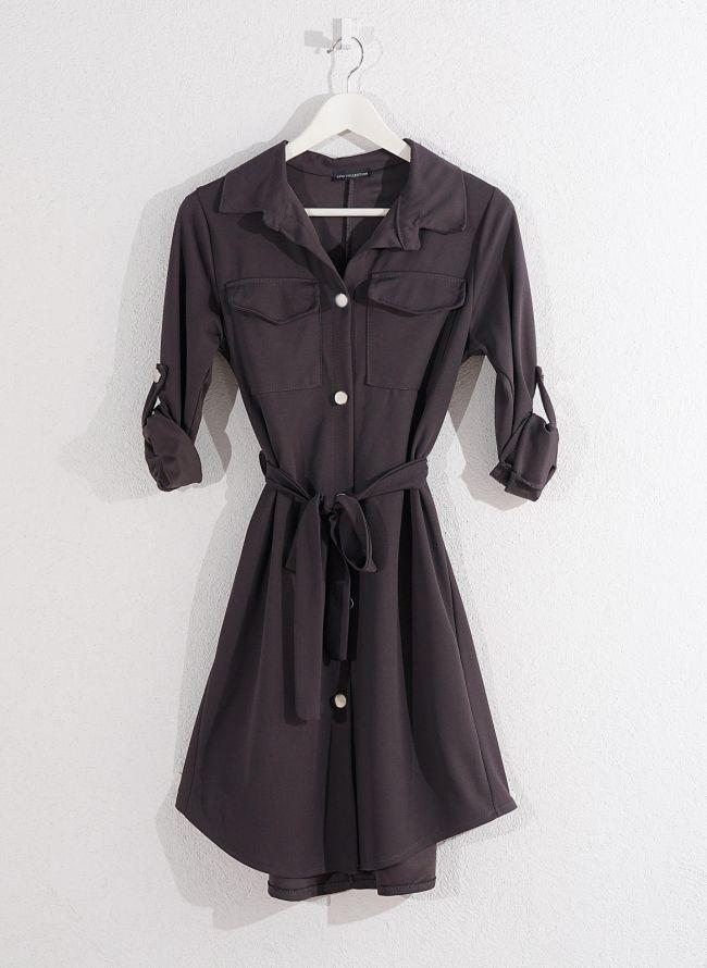 Φόρεμα-πουκάμισο - Ανθρακί