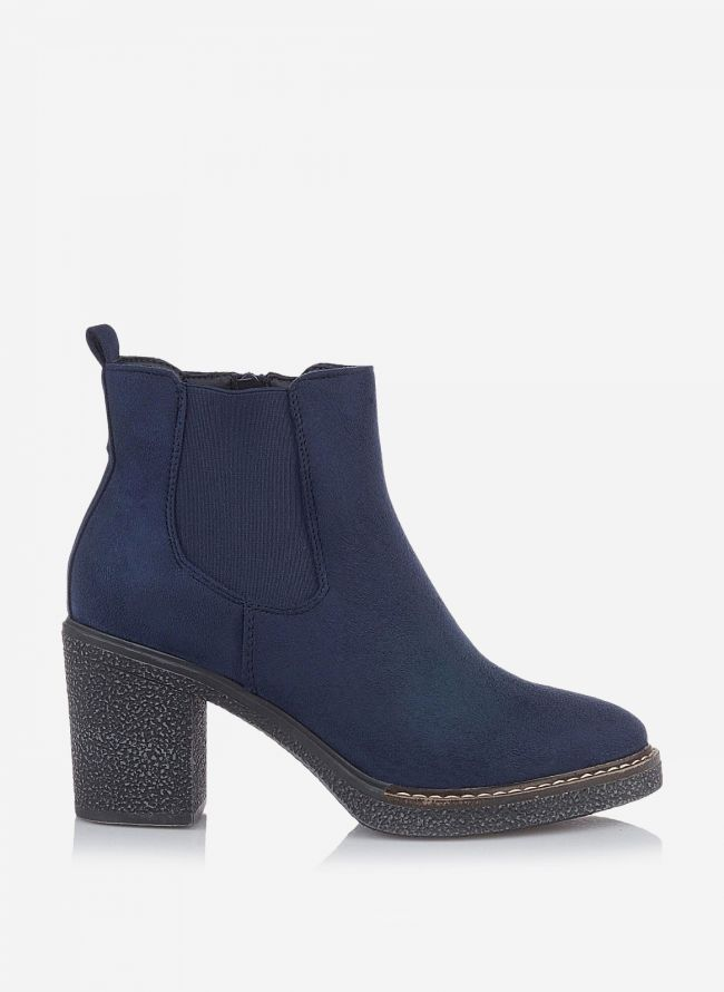 SUEDE ANKLE BOOTS - Μπλε σκούρο