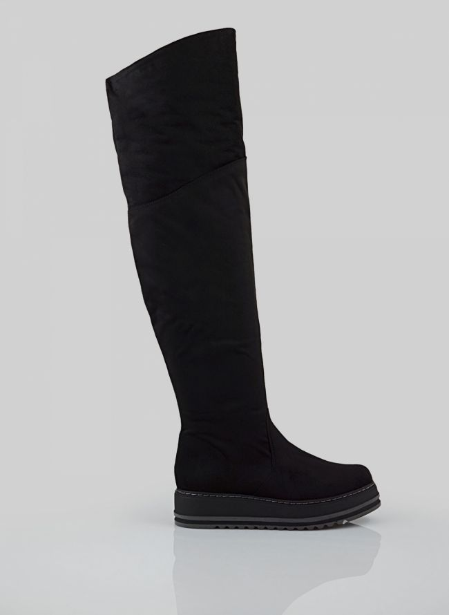 FLATFORM SUEDE OVER THE KNEE ΜΠΟΤΕΣ BB-100