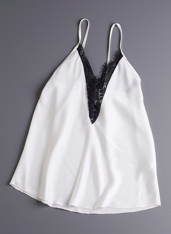 Σατέν top με δαντέλα - Λευκό