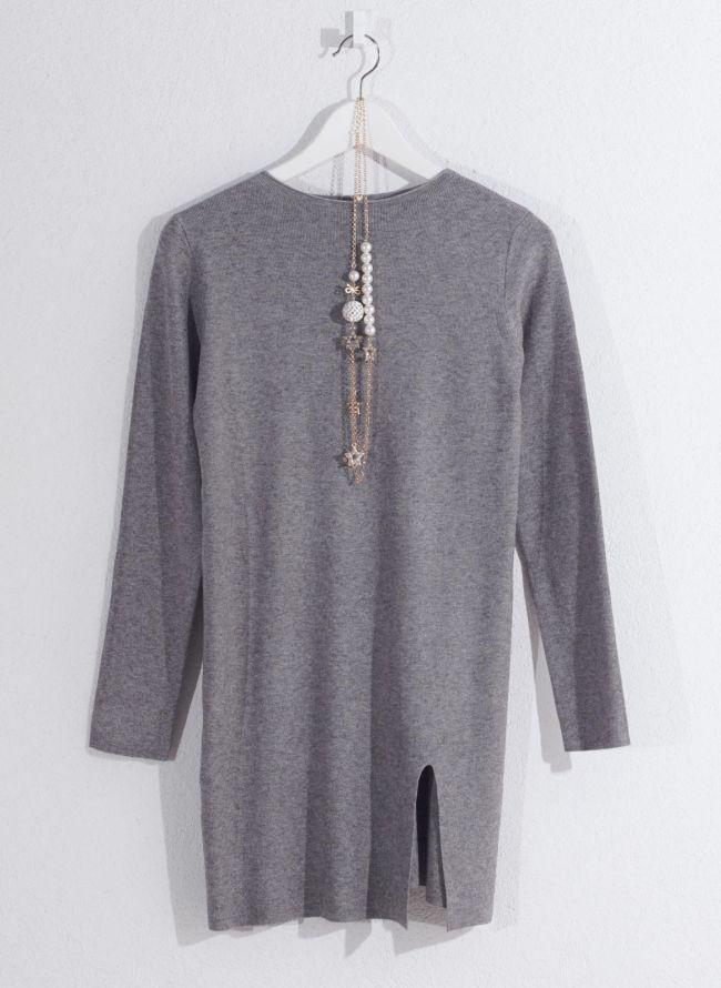 Basic μπλούζα με κολιέ - Γκρι