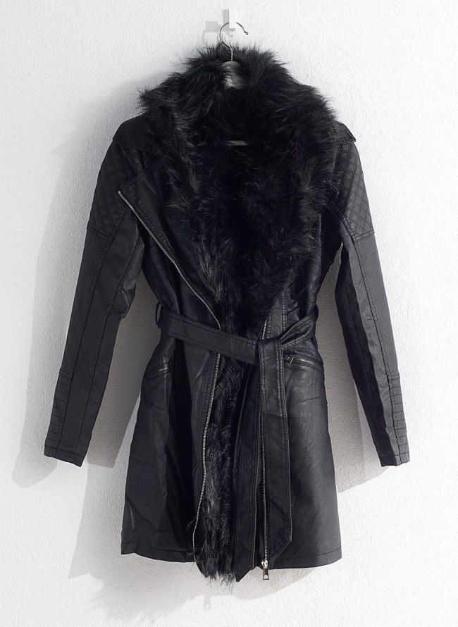 Παλτό με γούνα - Μαύρο